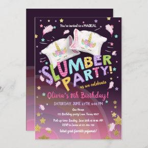 Slumber Party Pajamas Sleepover Magical Unicorn Invitation