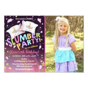Slumber Party Pajamas Sleepover Magical Unicorn Invitation