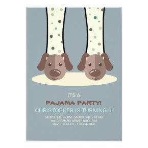 Slumber Party Puppy Slippers Invitation