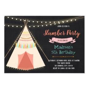 Slumber tent birthday party invitation