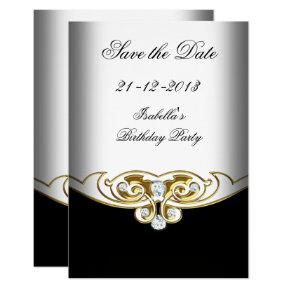 Sml Save the Date White Black Gold Diamond Card