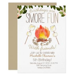 Smore campfire camping birthday invitation