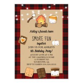 Smore Fun Rustic Campfire Kids Birthday Invitation