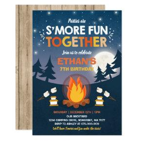 S'mores Birthday Invitation S'mores Bonfire Party