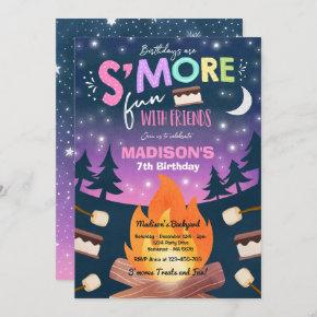 S'mores Birthday Party S'mores Camping Birthday Invitation