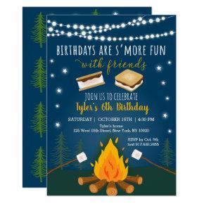 S'mores Camping Campfire Bonfire Birthday Invitation