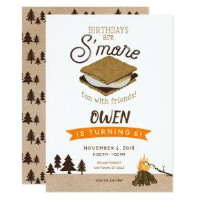 S'mores Camping Fun with Friends Birthday Invitation