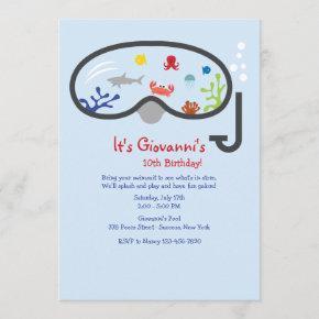 Snorkel Mask Children's Invitation