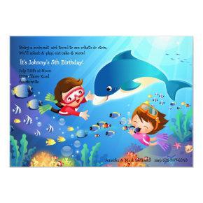 Snorkeling Tots Birthday Party Invitations