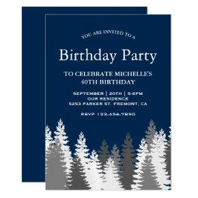 Snow Covered Pine Trees Navy Blue Birthday Party Invitation