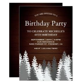 Snow Covered Pine Trees Rustic Wood Birthday Party Invitation