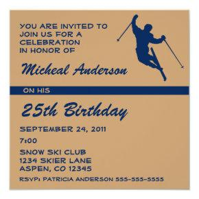 Snow Skier Player Birthday Party Invitation