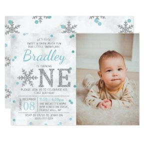Snowflake Winter 1st Birthday Photo Invitation