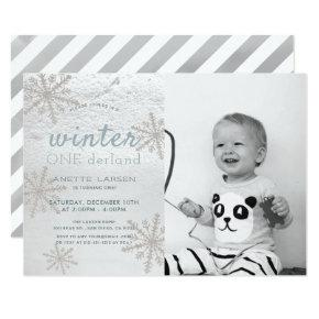 Snowflake Winter Onederland 1st Photo Birthday Invitation