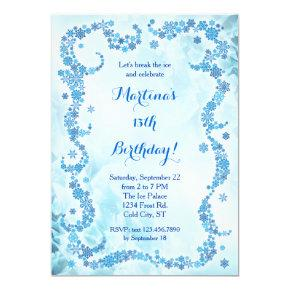 Snowflakes Birthday Invitation