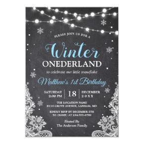 Snowflakes Chalkboard Lace Baby Boy First Birthday Card