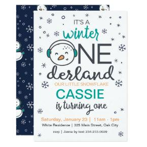 Snowman Winter ONEderland Invitation