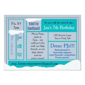 Snowy Frozen Birthday Movie Tix Invitations