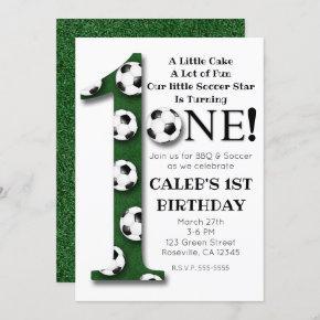 Soccer Ball 1 ONE 1st Birthday Party Invitation