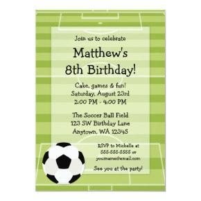Soccer Ball Field Kids Birthday Party Invitations