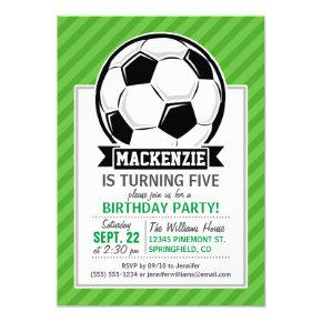 Soccer Ball; Green Stripes Invitations
