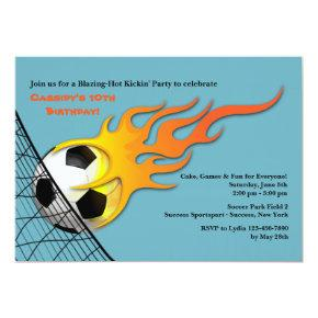Soccer Ball On Fire Birthday Party Invitations