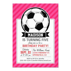 Soccer Ball on Neon Pink Stripes Invitations