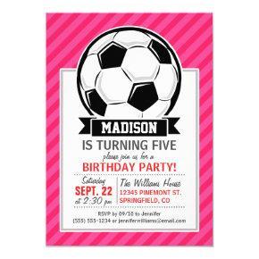 Soccer Ball on Neon Pink Stripes Invitation