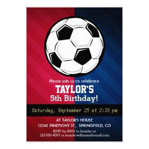 Soccer Ball; Red, White, and Blue Invitation