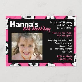 Soccer Birthday Party Invitation Pink