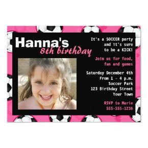 Soccer Birthday Party Invitation Pink
