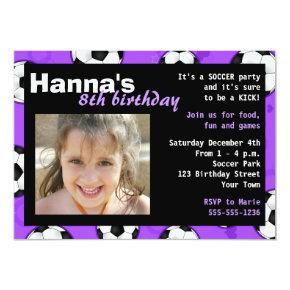 Soccer Birthday Party Invitation Purple