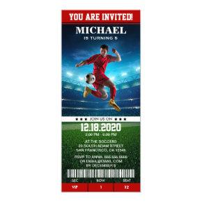 Soccer Birthday Party Invitation Template Ticket