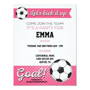 Soccer Birthday Party Invite - Girl