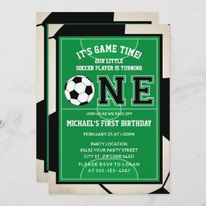 Soccer First Birthday Party Invitation