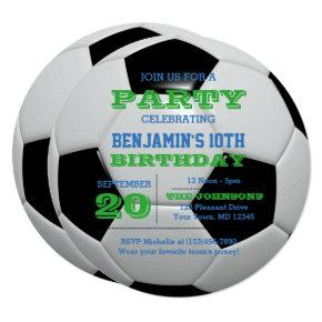 Soccer Football Birthday Round Invitation
