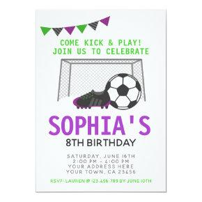 Soccer Girl Invitation, Sport Birthday Party Invitation