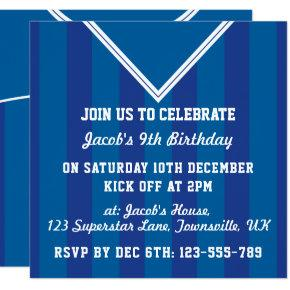 Soccer Jersey Themed Party Invites, Football, Blue Invitations