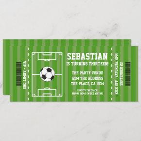Soccer Novelty Ticket Personalized Invitation