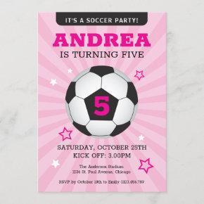 Soccer Party Birthday Invitation Pink