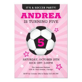 Soccer Party Birthday Invitation Pink
