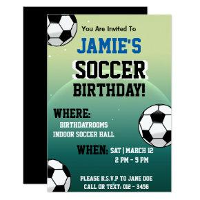 Soccer Themed Birthday Invitations