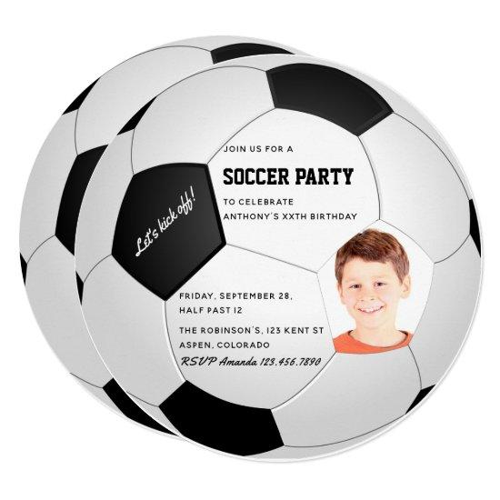 soccer themed birthday party photo invitations candied clouds