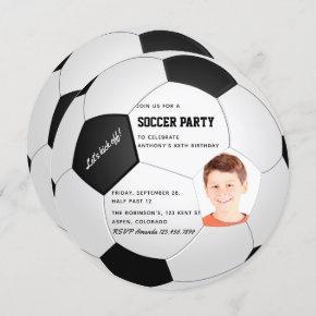 Soccer themed Birthday Party photo invitation