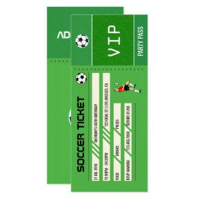 Soccer themed Birthday Party Ticket Entrance Invitations