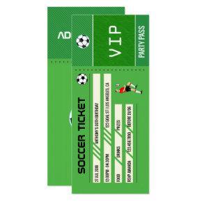 Soccer themed Birthday Party Ticket Entrance Invitation