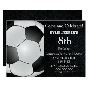 Soccer Themed Sports Kids Birthday Invitations