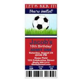 Soccer Ticket birthday invitation customizable