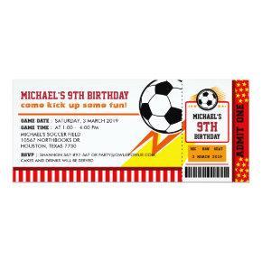 Soccer Ticket Pass Birthday Party Invitation