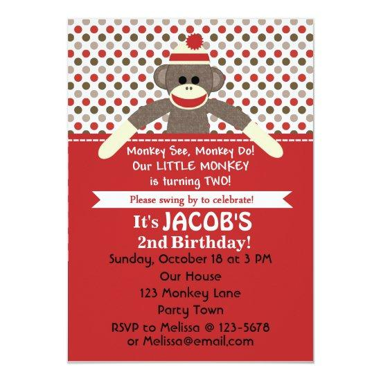 Sock Monkey 2nd Birthday Party Invite